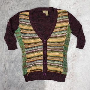 BKE Multi Colored Marled Chunky Button Cardigan